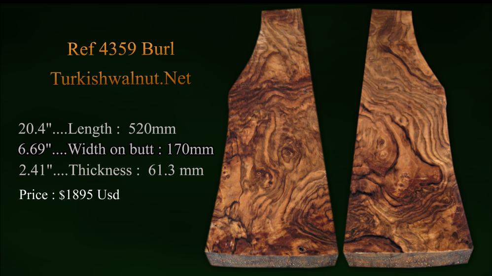 Exhibition grade High quality Turkish walnut gun stock blank