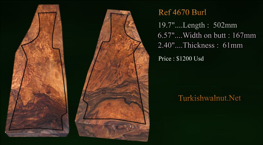 high grade Turkish walnut stock blank for monter carlo style hunting shotgun