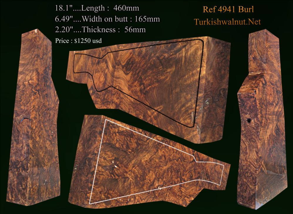 Amazing Burl Walnu Side by side gunstock blank for gunmakers