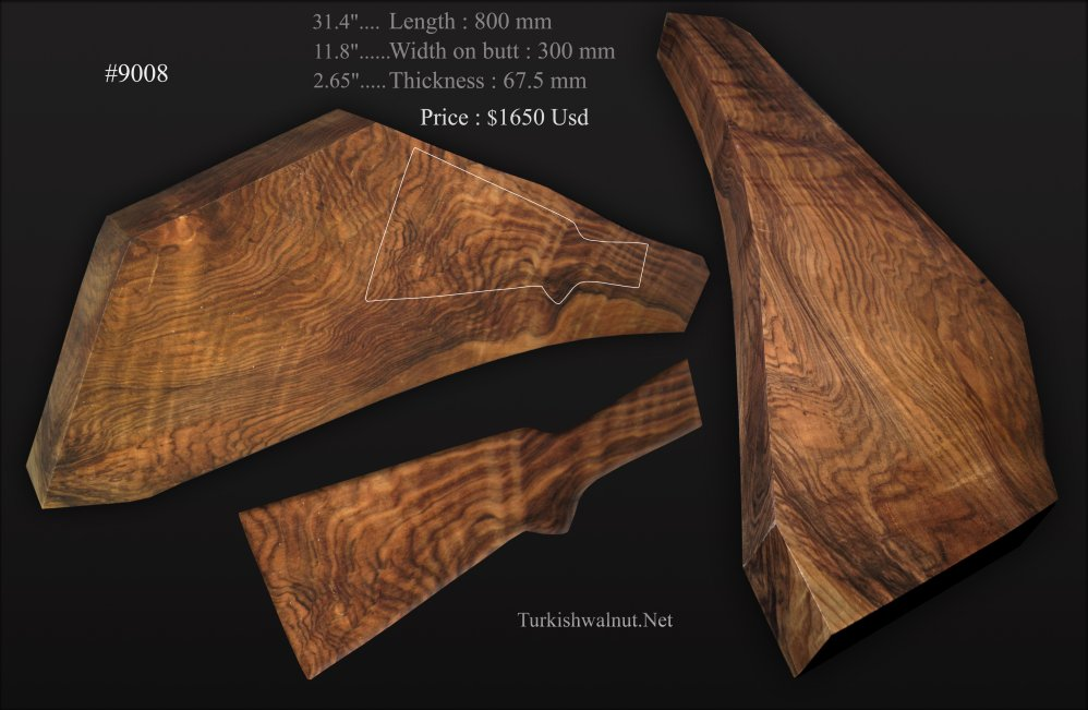 Extra bold, large Turkish walnut shotgun stock blank