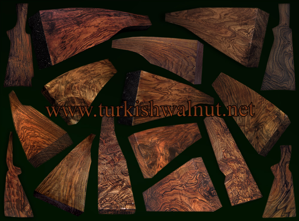 Exhibition grade AAAAA Fancy Highly figured Figured Turkish walnut gunstock shotgun rifle blanks sidebyside ou