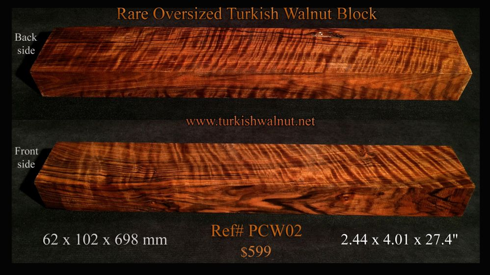 Curly Exhibition grade Turkish walnut oversized large block